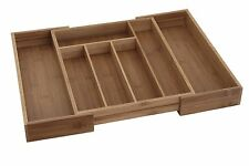 Extensible De Bambú Caja De Cubiertos Madera Cocina Cajón Organizador De Utensilios Bandeja de almacenamiento