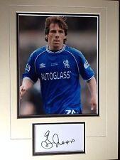 GIANFRANCO ZOLA-ex calciatore Chelsea-eccellente display a colori firmata