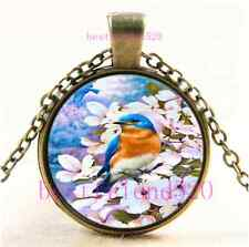 Vintage Pretty Little Bird Photo Cabochon Glass Bronze Pendant Necklace#D52