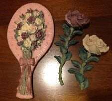 Beautiful Resin Handheld Vanity Mirror And Matching Roses