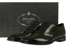 NEW PRADA BLACK SMOOTH LEATHER OXFORD LOGO  DRESS CASUAL SHOES 9.5/US 10.5