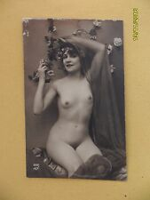 Original French 1910's-1920's Nude Risque Postcard Pretty Lady (#19)