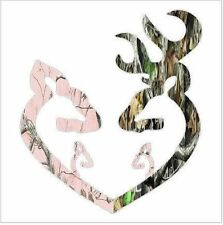 Browning Style Camo Reg Buck and Pink Doe Heart with 2 Baby Doe's Sticker