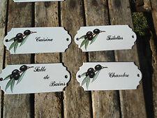 LOT 4 PLAQUES PORTE EMAILLEES Olives Noires EMAIL VERITABLE NEUF FABR. EN FRANCE