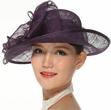 Wedding Race Derby  Ladies Day Asymmetric  Asymmetric Large, Sinamay Hat Purple