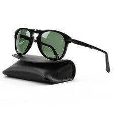 Persol 714 Folding Sunglasses 95/58 Black Grey Green Polarized Lens PO0714 52 mm