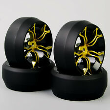 4PCS 1:10 RC Car Hard Speed Drift 0 Degree Tires Tyre Wheel Rims MPNKG For HPI