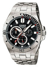 Casio MTD1060D-1A Men's Stainless Steel Multifunction Black Dial 100M Watch