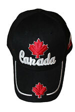 CANADA BLACK  WITH MAPLE LEAF EMBOSSED HAT CAP .. NEW