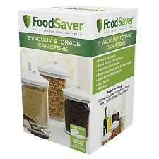 FoodSaver 3 Piece Round Canister Set Vacuum Lid Sealer Container Storage Jar NEW