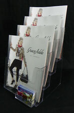 """Acrylic 4-Tier Brochure Holder for 8.5""""w Literature With Business Card Pocket"""