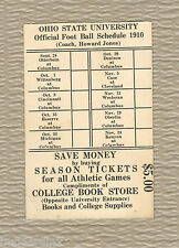 OHIO STATE BUCKEYES  1910 FOOTBALL SCHEDULE  * VERY RARE *GOOD CONDITION*VINTAGE