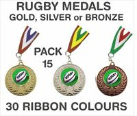 PACK OF 15 (75p each) Rugby Medals Budget & Ribbons Metal 50mm Ref: GMM7050-MR1