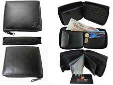 Leather Mens Mans Zip Around Zipped Up Wallets 9 Card Wallet Black Roamlite RL84