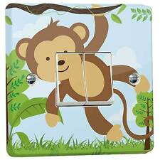 Jungle Monkey Wall Light Switch Sticker for a Crabtree Double 4172 2-Way WRAPPED