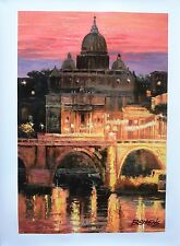 "Howard Behrens Hand Embellished Canvas ""Sunset Over St. Peter's"" Vatican, Italy"