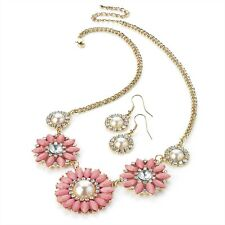 Gold Colour, Crystal & Pink Bead Necklace & Earrings RRP £12.00 - Brand New +Tag