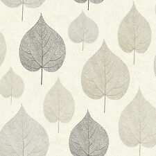 Natual Leaf Wallpaper Signature Gold Silver Black and Grey Leaves by Crown M1070