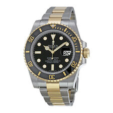 Rolex Mens Submariner Oyster Black 18K Gold Automatic Swiss Made Watch 116613LN