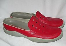 Red Perforated Leather PRADA Sport Clogs Mules 38.5