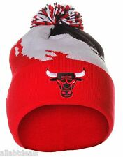 NBA Mitchell and Ness Chicago Bulls Pom Pom Paintbrush Black Red Beanie Hat Cap