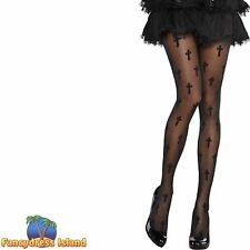 GOTH NUN CROSS TIGHTS HALLOWEEN - One Size - womans ladies fancy dress accessory