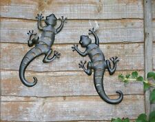 Pair of Black Metal Gecko/Lizard Wall Art Decor for Garden or Patio/Fence/Shed
