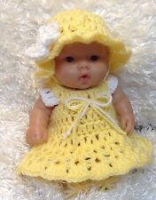 Clothes For 10 Inch Berenguer/ Reborn Doll.Yellow Dress Set