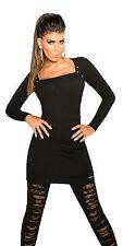 Tejido De Mujer Vestido Punto Remaches Espinosos Suéter S 32 34 Pulóver Largo