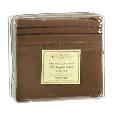 1500 TC THREAD COUNT LUXURY EGYPTIAN COTTON SHEET SET QUEEN SIZE DARK BROWN