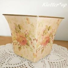 """Chic Victorian Style Shabby TIN/METAL SQUARE CONTAINER Pink Roses 6"""" Tall"""
