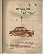 REVUE TECHNIQUE AUTOMOBILE 125 RTA 1956 ETUDE RENAULT DAUPHINE