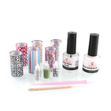 Nail Art Tips Design Transfer Foil Rolls Kit Professional Manicure Base Top Coat