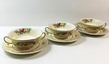 3 Ambassador Ware Hampton Court Footed Cream Soup Bowls Saucers Simpson Potters