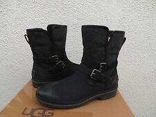 UGG SIMMENS BLACK LEATHER/ WOOL WATERPROOF ANKLE BOOTS, US 6/ EUR 37 ~NEW