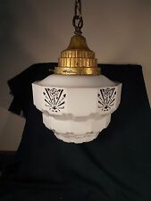 "Art Deco Skyscraper Shade 10.5 "" Milk Glass Black Enameled & Fancy Brass Fixture"