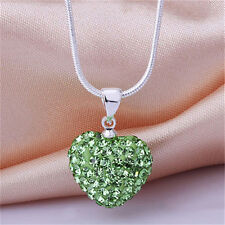 Fashion Women Pendant Jewelry Crystal Heart 925 Sterling Silver Necklace Chain S