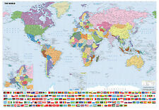 GIANT A0 841X1189MM WORLD MAP WITH FLAGS POSTER - STUDY AID - FREE UK POST