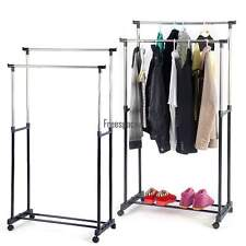 Double Clothes Rail Black New Hanging Garment On Wheels With Shoe Rack Shelf