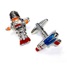 Robot & Laser Gun CUFFLINKS Science Fiction Sci Fi Present GIFT BOX