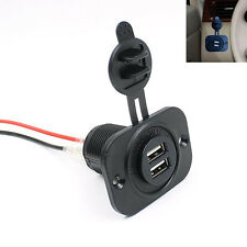 12V Marin Auto Cigarette Lighter Socket Dual USB Charger Panel Power Adapter
