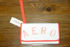 AEROPOSTALE LADIES TRIFOLD WALLET, WHITE WITH PEACH LOGO AND MAGNETIC CLASP