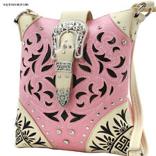 GRK PINK BUCKLE WESTERN RHINESTONE HIPSTER CROSS BODY  PURSE CONCEALED CARRY