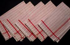 "5 VINTAGE RED & WHITE COTTON KITCHEN TEA TOWELS, 20""X27"" EACH, NEVER USED! #2"
