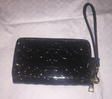 NWT Coach Signature Patent Leather Double Zip Wristlet Wallet Black F53310