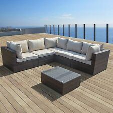 SUPERNOVA 6pcs Outdoor Patio Furniture Wicker Rattan Couch Sectional Sofa Set