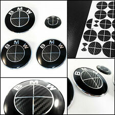 Black & Black CARBON Fiber Roundel Decal - BMW BADGE EMBLEMS Rims Hood Trunk