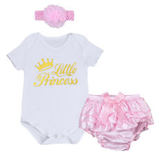 Baby Girl Princess Romper Jumpsuit 3PCS Clothes Set Headband Pants Bottom Outfit