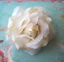 Ivory Lace Rose Hair Clip /Brooch With Feathers Wedding Flower