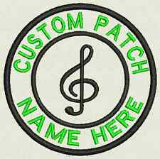 """Music Custom Embroidered Tag, Patch, Badge Iron On or Sew On - 3.50"""""""